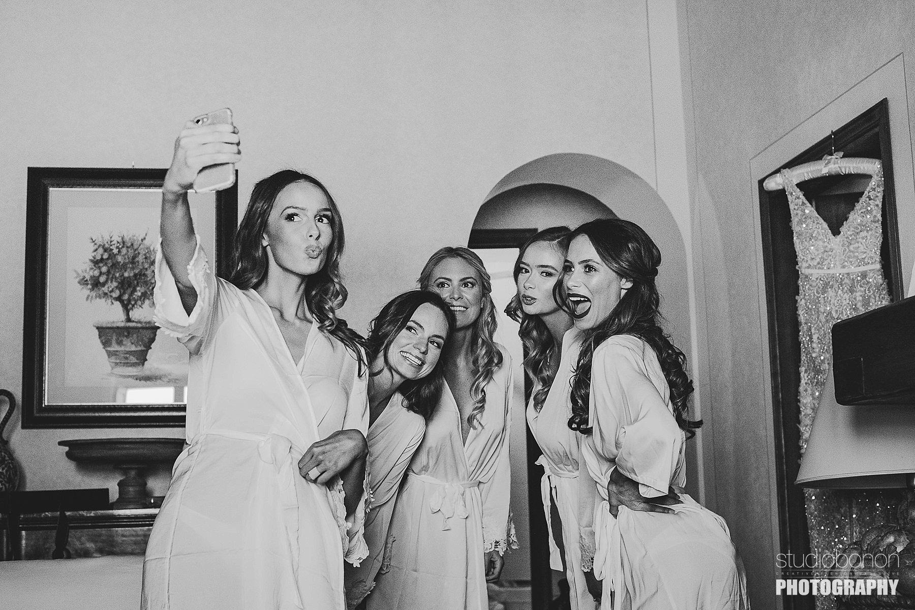 Bride with bridesmaids at Panzano in Chianti