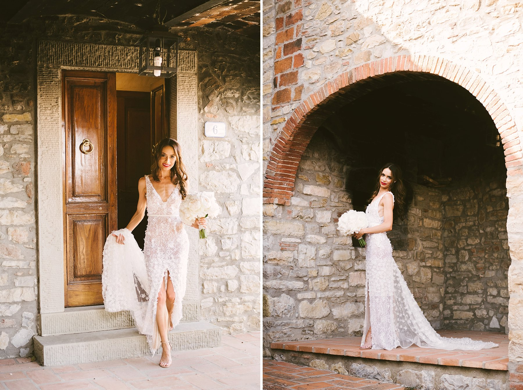 Beautiful bride Emily almost ready to leave and walks the aisle for her Tuscany countryside destination wedding in Chianti