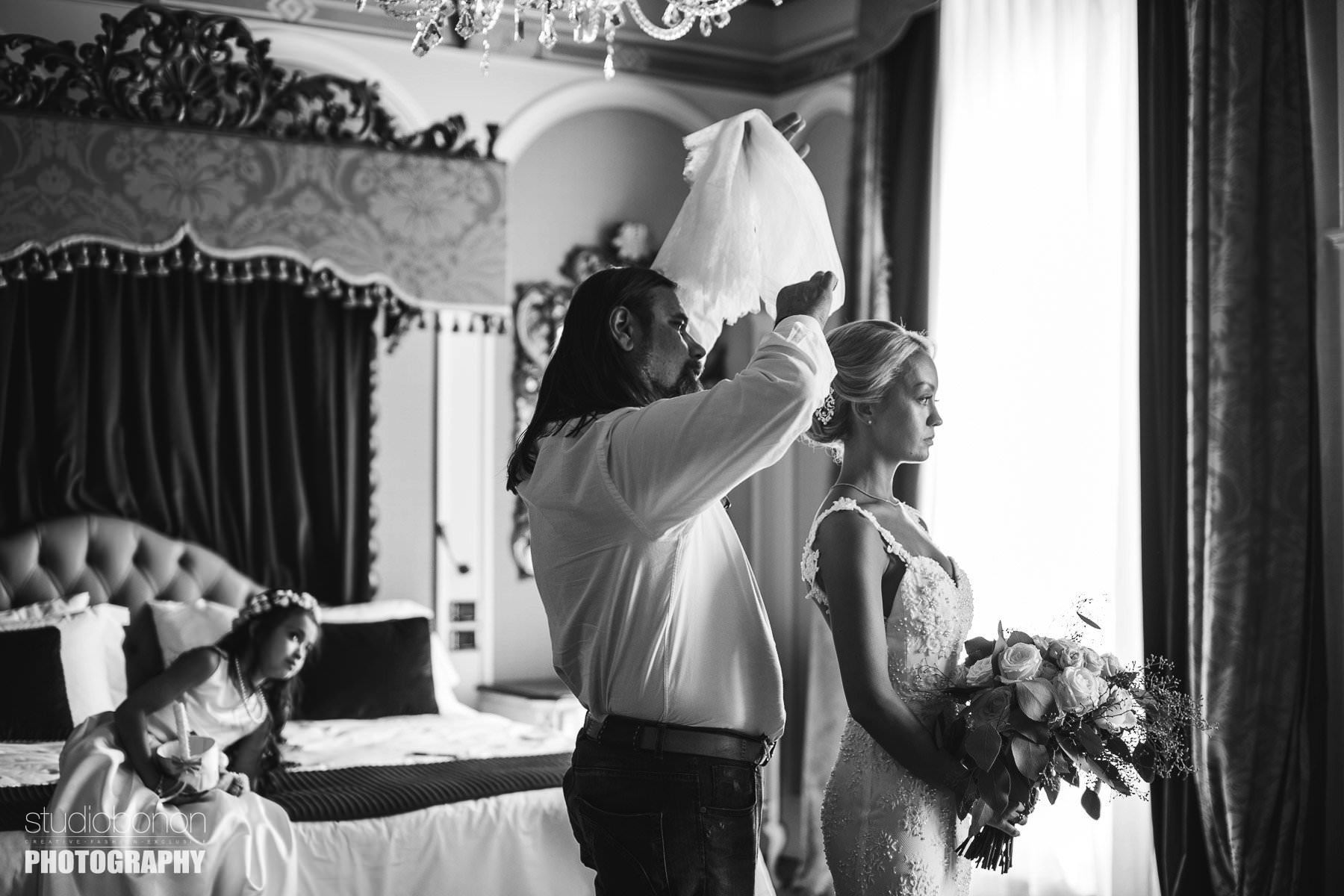 Delicate moment during bride getting ready. Veil setup for this beautiful and elegan bride in St. Regis suite