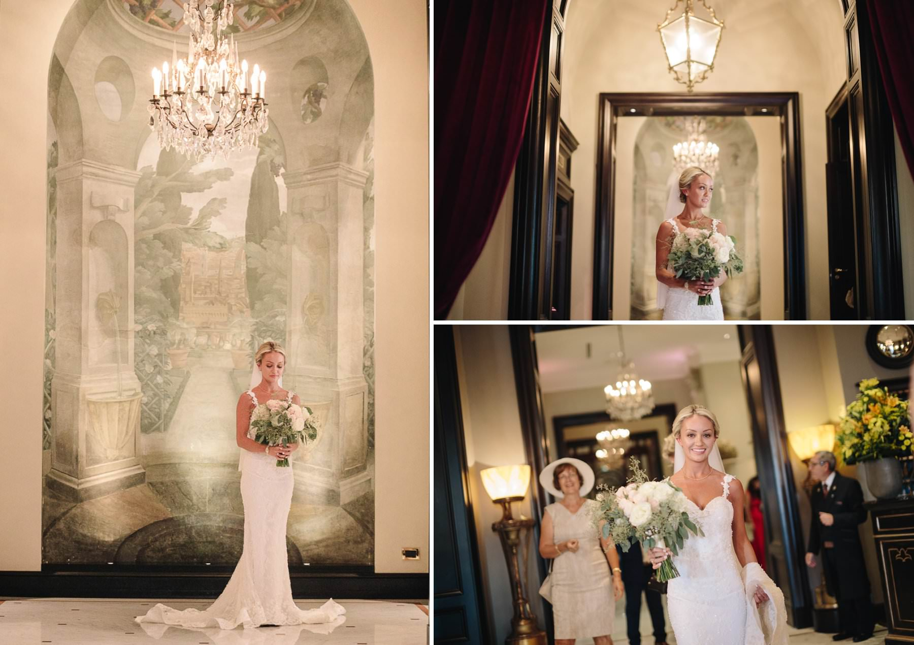 Lovely bridal portrait in Florence St. Regis hotel just before to leave for Vincigliata Castle