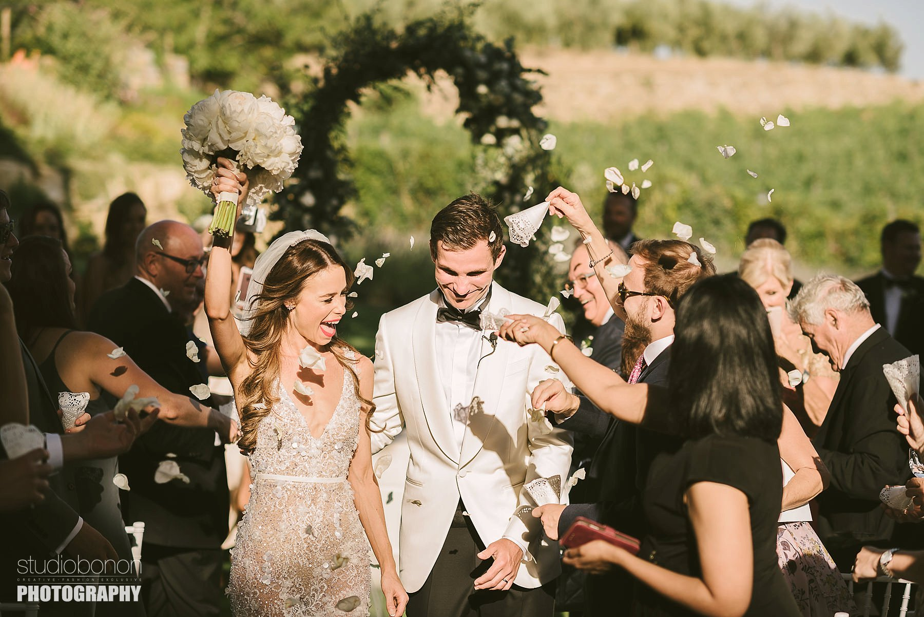 Bride and groom are just married. Tuscany countryside destination wedding in Panzano in Chianti