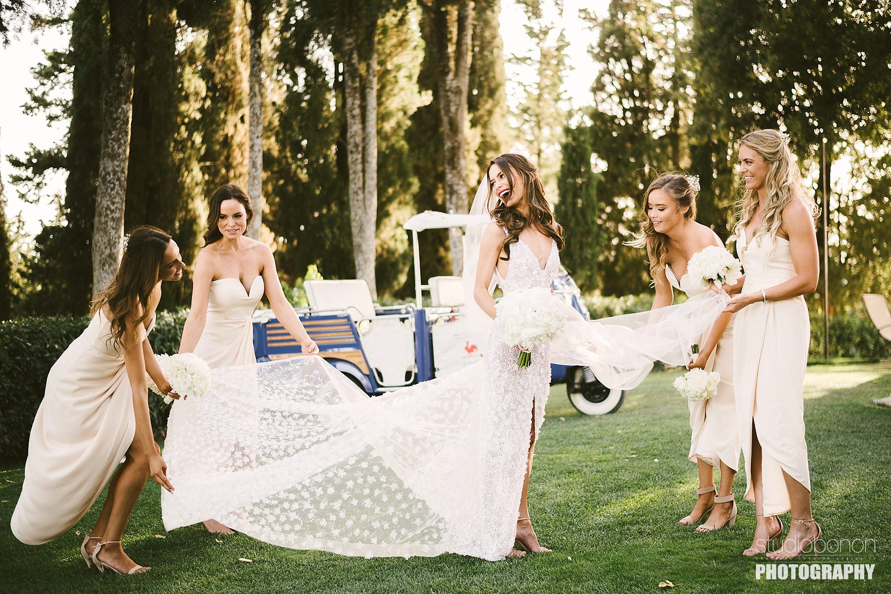 Bride Emily with lovely bridesmaids. Destination wedding in Tuscany countryside near Panzano in Chianti