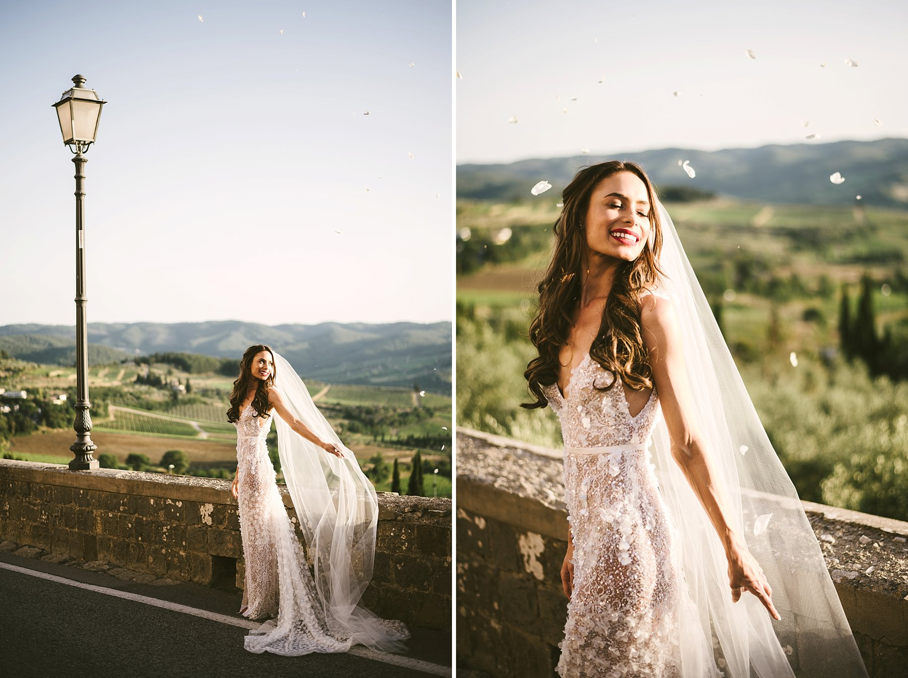 Unforgettable moment of beautiful bride Emily in Tuscany countryside for a destination wedding near Panzano in Chianti