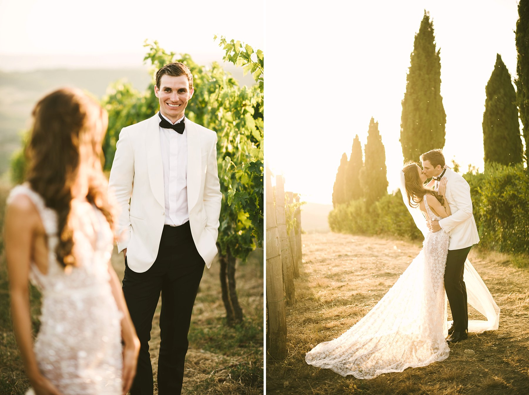 Lolvey moment of beautiful bride Emily and groom Luke in Tuscany countryside vineyard