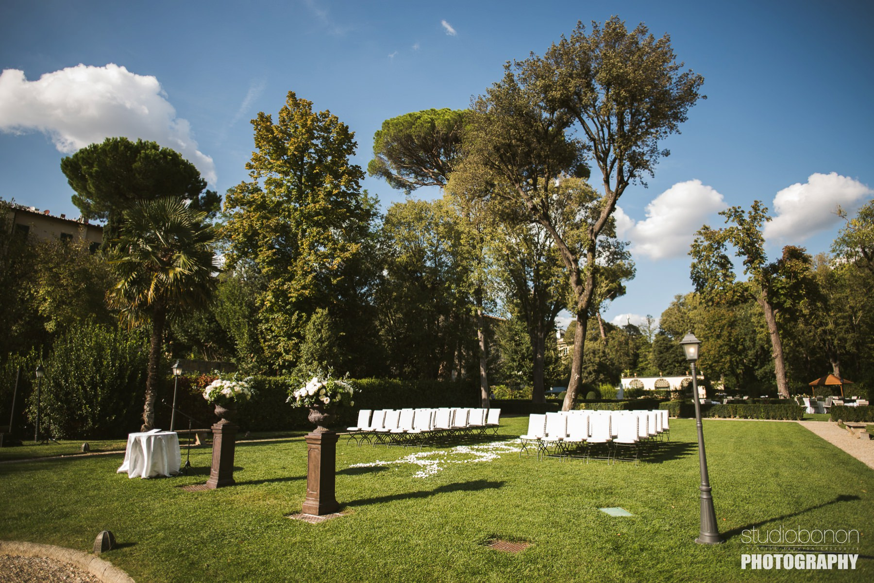 Unforgettable outdoor ceremony decor by Francis Flowers at Hotel Four Seasons Florence