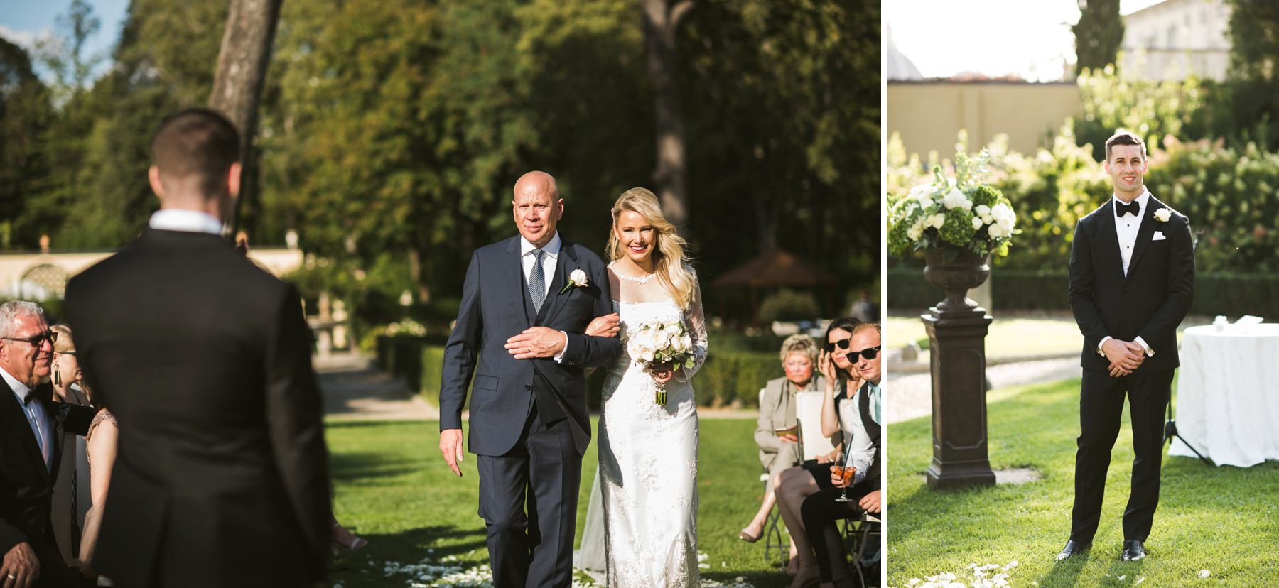 Bride Amy walks down the aisle for her destination wedding in Florence at Hotel Four Seasons Florence