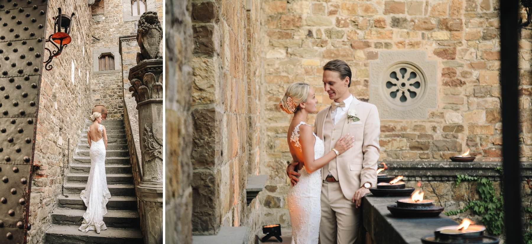 Beautiful bride in white wedding gown at Vincigliata Castle for elegant destination wedding in TUscany countryside