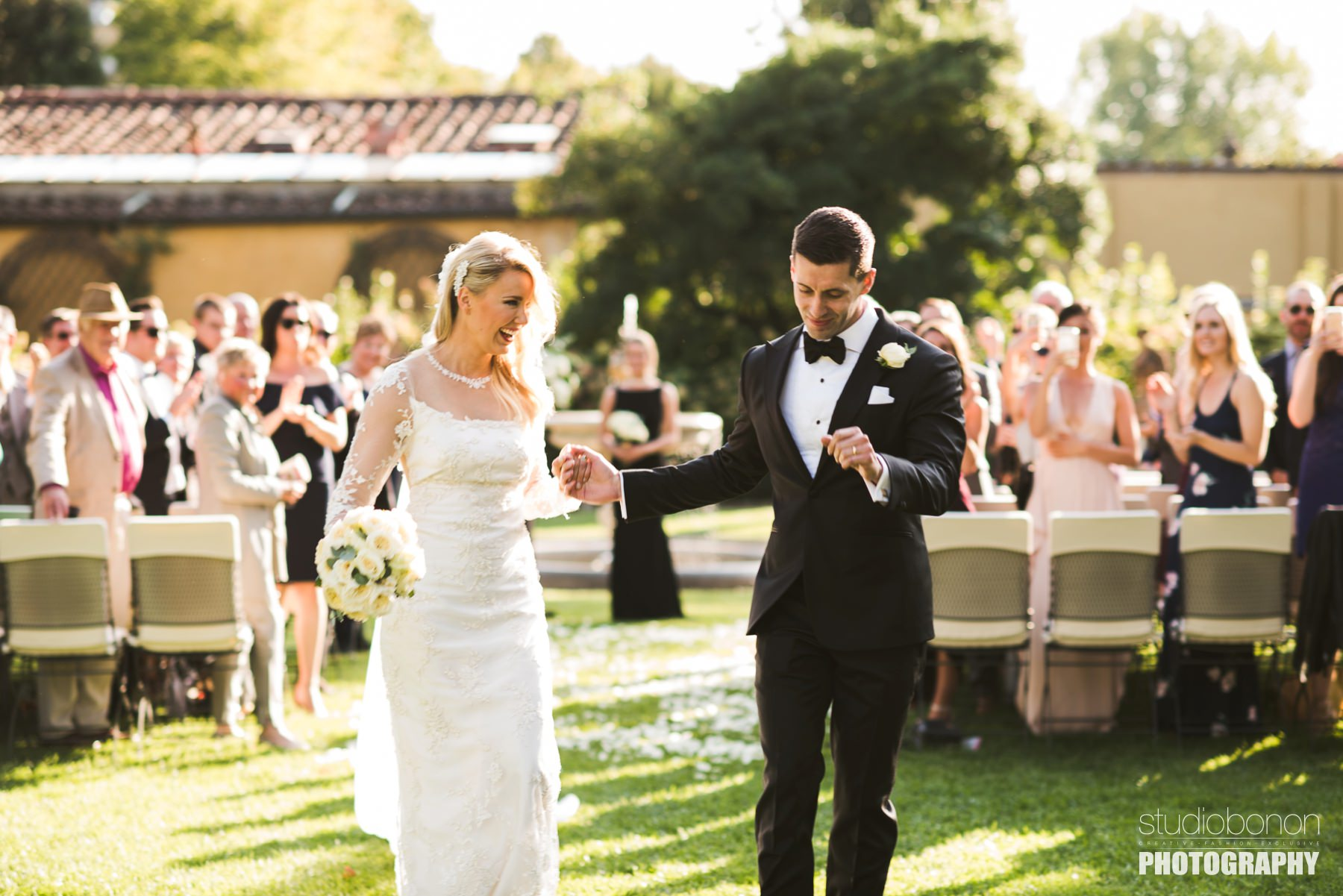 Bride and groom are just married! Elegant destination wedding in Florence