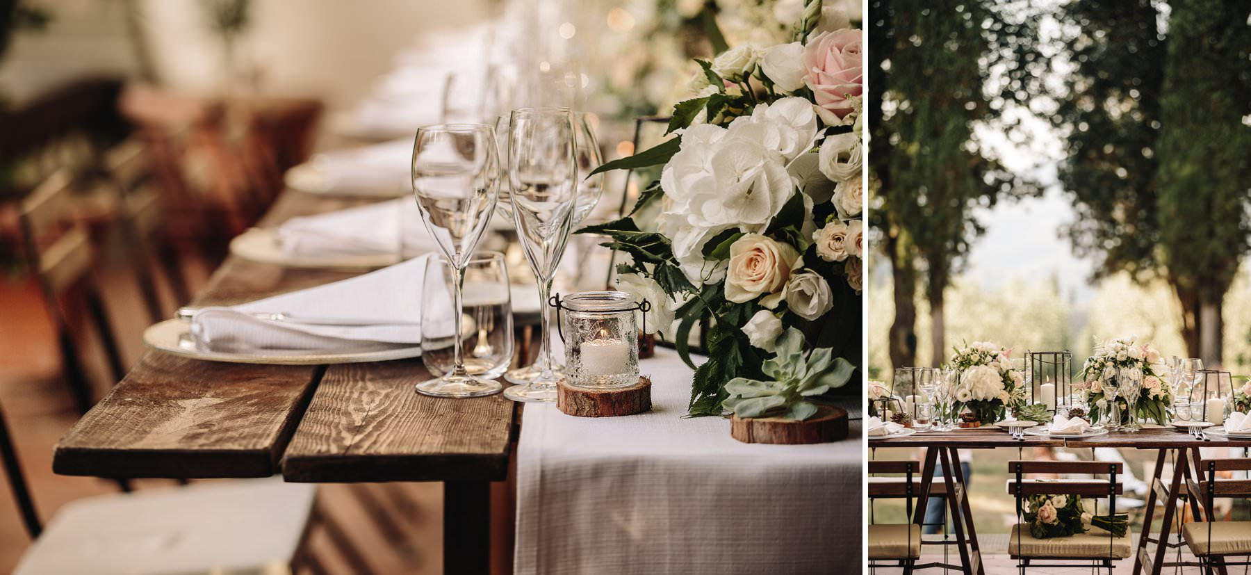 Lovely rustic country chic dinner setup decor at Villa Pisignano. Destination wedding in Tuscany countryside