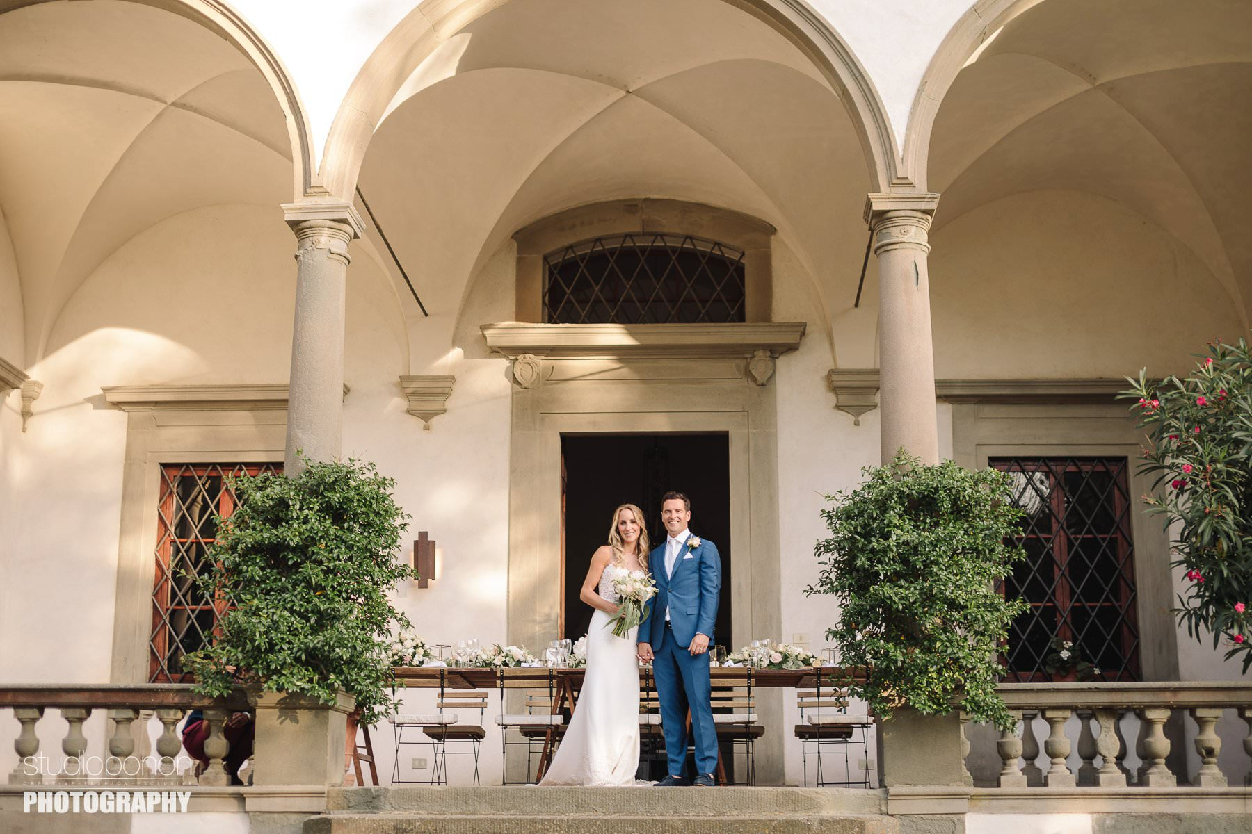 Bride and groom portrait at Villa Pisignano, San Casciano. Tuscany countryside destination wedding