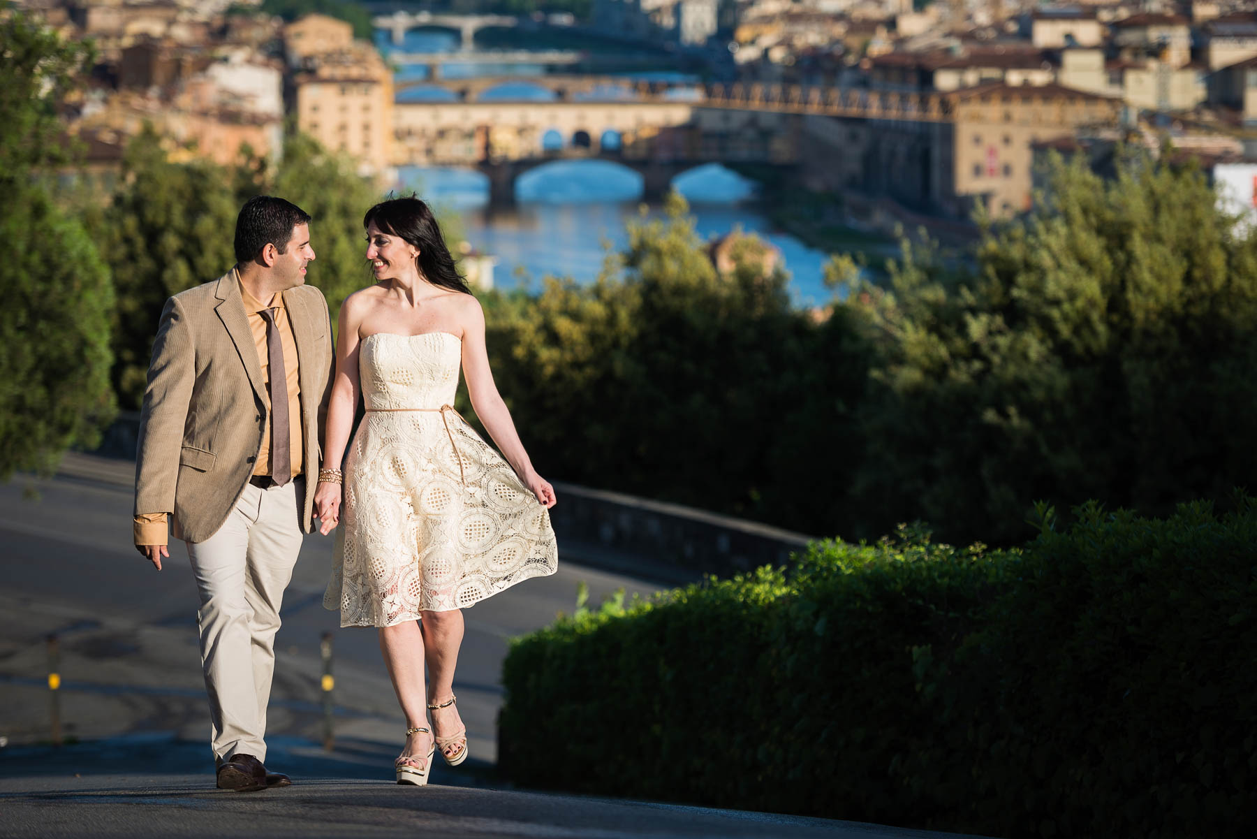 Sunrise engagement pre wedding photography in Florence